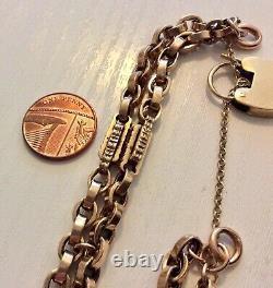 Fabulous Antique Heavy 9 Carat Rose Gold Fancy Double Albert Bracelet & Padlock