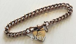 Fabulous Ladies Antique Very Heavy Solid 9ct Rose Gold Bracelet With Padlock