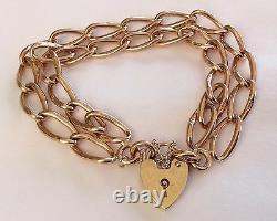 Fabulous Ladies Heavy Antique 9Ct Rose Gold Double Row Padlock Bracelet 32.2 G