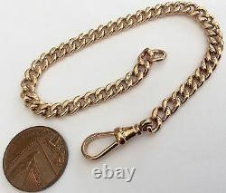 Fabulous Ladies Heavy Antique Rose 9ct Gold Solid Bracelet Stamps All Links