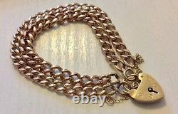 Fabulous Ladies Very Heavy Antique 9 Carat Rose Gold Double Bracelet & Padlock