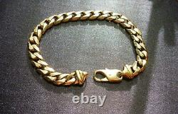 Fabulous Vintage Estate 9ct Rose Gold Heavy Bevelled Curb Link Italian Bracelet