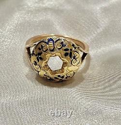 Fine Antique Victorian enamel dome bombe ring heavy 9ct yellow rose gold 6.1g