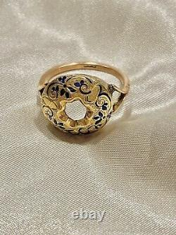 Fine Antique Victorian enamel done bombe ring heavy 9ct yellow & rose gold 6.1g