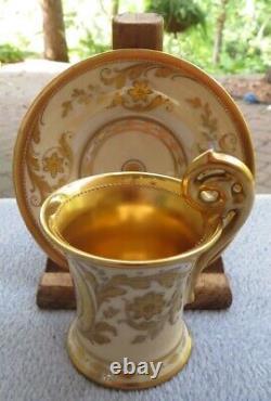 Franziska Hirsch Dresden Demitasse Cup & Saucer Cameo of Roses Heavy Gold