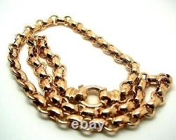 Genuine 9ct Rose Gold 375, Solid Heavy Oval Belcher Necklace Chain 50 grams 50cm