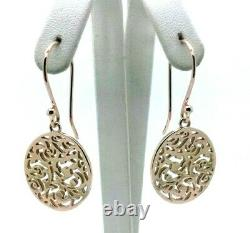 Genuine New Heavy 9ct Solid Rose Gold Filigree Oval Drop Long Hooks Earrings