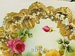 Gorgeous Nippon Floral Plate Hand Painted Roses Heavy Gilded 10.5