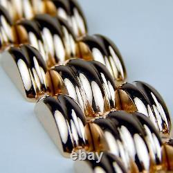 HEAVY 92.5 gr 18 kt Rose Gold Flexible Link Open Brick Style Bracelet 7.5 A1187