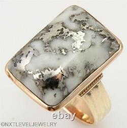 HEAVY Antique Victorian RARE Silver in Quartz 14k Solid Rose Gold Men's Ring