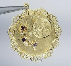 HEAVY SOLID 14K GOLD HAPPY ANNIVERSARY CHARM PENDANT WITH ROSE AMETHYST 6.5g