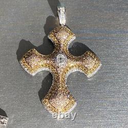 HUGE Canary Fancy Diamond 18K Rose Yellow White Gold Heavy Cross Pendant 4.00ctw