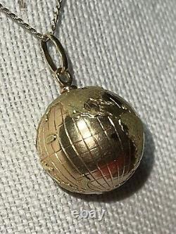 HUGE Vintage 18K Yellow & Rose Gold World Globe Pendant Charm Heavy, Scientific