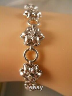 Heavy 10k White Gold Diamond Rose Flower Plumeria Art Deco Tennis Bracelet 7