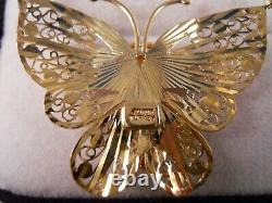 Heavy 10k Yellow Rose White Gold Diamond Cut Butterfly Moth Pendant Necklace 17