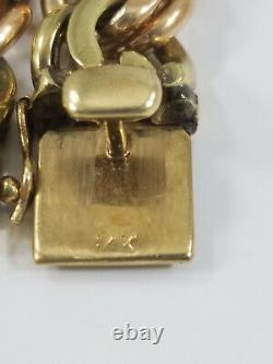 Heavy 14K ROSE and GREEN GOLD CURB LINK BRACELET 85 GRAMS! 7 13MM