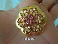 Heavy 14K Rose Gold Ruby Diamond Pin Pendant 11.6 gms, 1.50 inch, 0.64 ctw