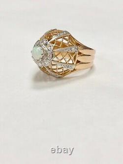 Heavy 14k Rose Gold Vintage Opal & Diamond Spiral Domed Cocktail Ring Estate