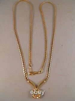 Heavy 14k Yellow Gold Diamond Rose Flower Snake Chain Art Deco Pendant Necklace