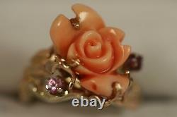 Heavy 14k Yellow Gold Pink Angel Skin Coral Sapphire Rose Flower Art Deco Ring
