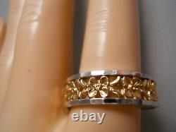 Heavy 14k Yellow Gold White Gold Plumeria Flower Rose Art Deco Band Ring 10.25