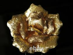 Heavy 18K Gold 2 Large Textured Rose Flower Floral Clip Pin Brooch