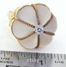 Heavy 18K yellow gold 0.25CT VS1/F diamond & Rose quartz cocktail ring size 6