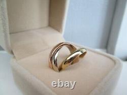 Heavy 18ct Yellow White & Rose Gold Russian Interlocking Wedding Band Ring