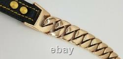 Heavy 18k Rose Gold Plated Stainless Steel Cuban Chain Dog Lead Leash 32mm Width