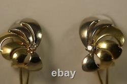 Heavy 18k Yellow White Gold Vs Diamond Rose Flower Sea Shell Art Deco Earrings
