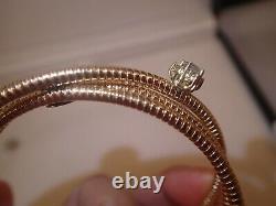 Heavy 18k rose and white gold 0.87ct diamond cuff bracelet 25.4g size 6 3/4