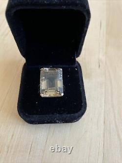 Heavy 1960's 9ct Rose Gold Emerald Cut Large Citrine Cocktail Solitaire Ring O