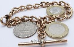 Heavy 9.75 inch Antique 9ct rose gold pocket watch albert guard chain 40.8 grams