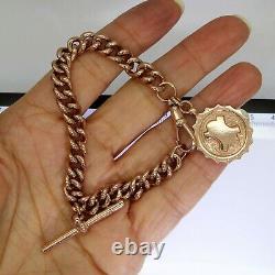 Heavy Albert Bracelet T Bar & Fob 9ct Rose Gold 7 Bracelet
