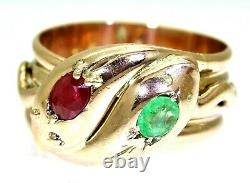 Heavy Antique Ruby & Emerald Double Snake 9ct Rose Gold Ring size V 10 3/4