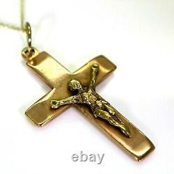 Heavy Crucifix 9ct Rose & Yellow Gold Cross Pendant & Chain