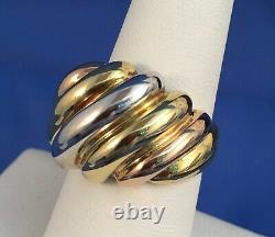 Heavy Fluted Tritone Dome Ring Sz 7.25 in Yellow, White & Rose 18K Gold 8.6g