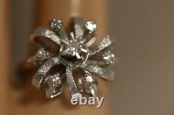 Heavy Franklin 14k White Gold Diamond Flower Rose Art Deco Bow Ballerina Ring