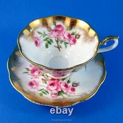 Heavy Gold and Pink Rose Bouquet Royal Albert Tea Cup and Saucer