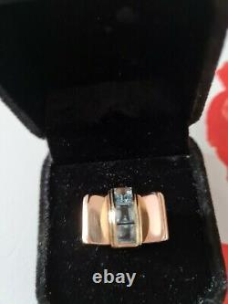 Heavy Huge 14k Yellow And Rose Gold Vintage Aquamarine Ring 10gms Size O