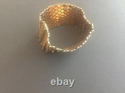 Heavy Italian 18K Gold YellowithRose/White Honey Comb Design Bracelet