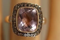Heavy Levian 14k Rose Gold Amethyst Champagne Chocolate Diamond Art Deco Ring