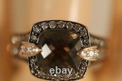 Heavy Levian 14k Rose Gold Smokey Quartz Chocolate Diamond Ruby Art Deco Ring