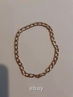 Heavy Mens 9ct. Rose Gold Curb Link Bracelet, 12.4g
