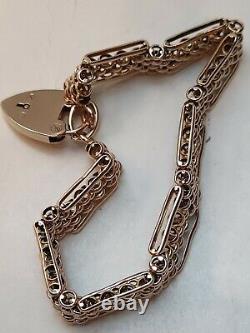 Heavy Victorian 9ct Rose Gold Gate Bracelet 4 bar fancy Chain Link