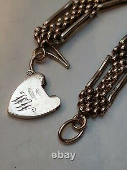 Heavy Victorian 9ct Rose Gold Gate Bracelet 4 bar fancy link