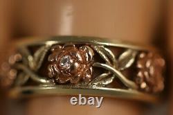 Heavy Vintage 14k Yellow Gold Diamond Rose Flower Art Deco 3/4 Eternity Ring