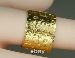 Heavy Vintage 22K Gold Flower Power Wedding Band Floral Roses Ring 1960s 7.25