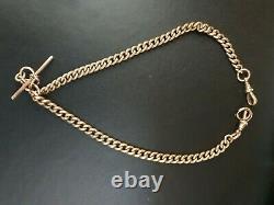Heavy Vintage Antique Hallmarkd 9k Rose Gold Albert Chain T Bar Fob Watch