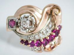 Heavy Vintage Retro Rose Gold Diamond, Ruby 14K Ring Circa 1940s